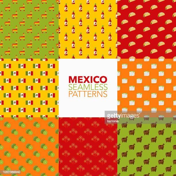 ilustrações, clipart, desenhos animados e ícones de conjunto padrão sem emenda de méxico - pinata