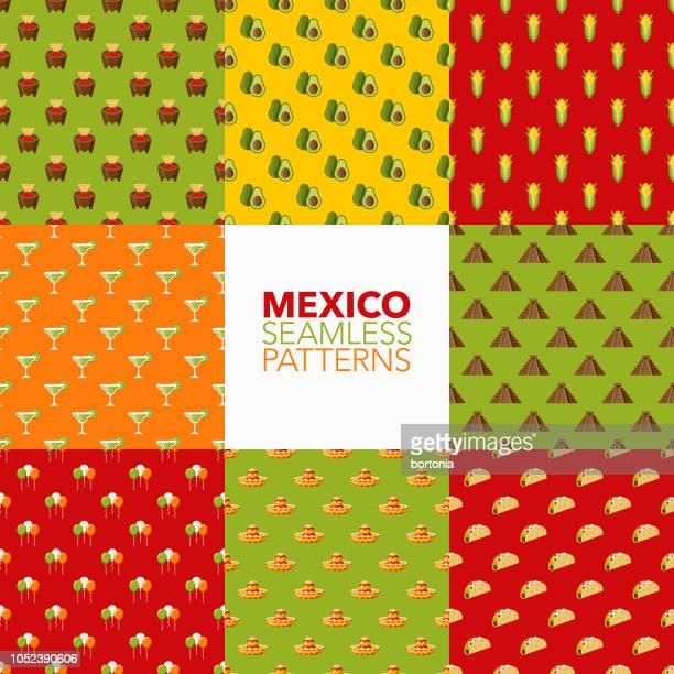 mexico seamless pattern set - margarita stock illustrations, clip art, cartoons, & icons