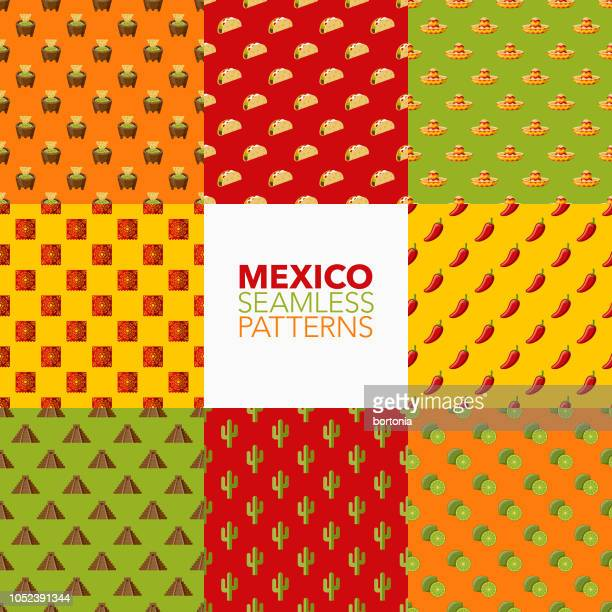 mexico seamless pattern set - sombrero stock illustrations