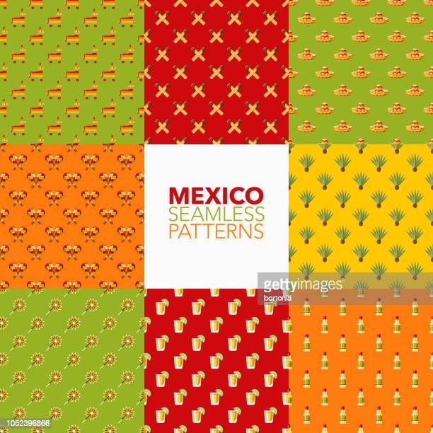 mexico seamless pattern set - churro stock illustrations, clip art, cartoons, & icons
