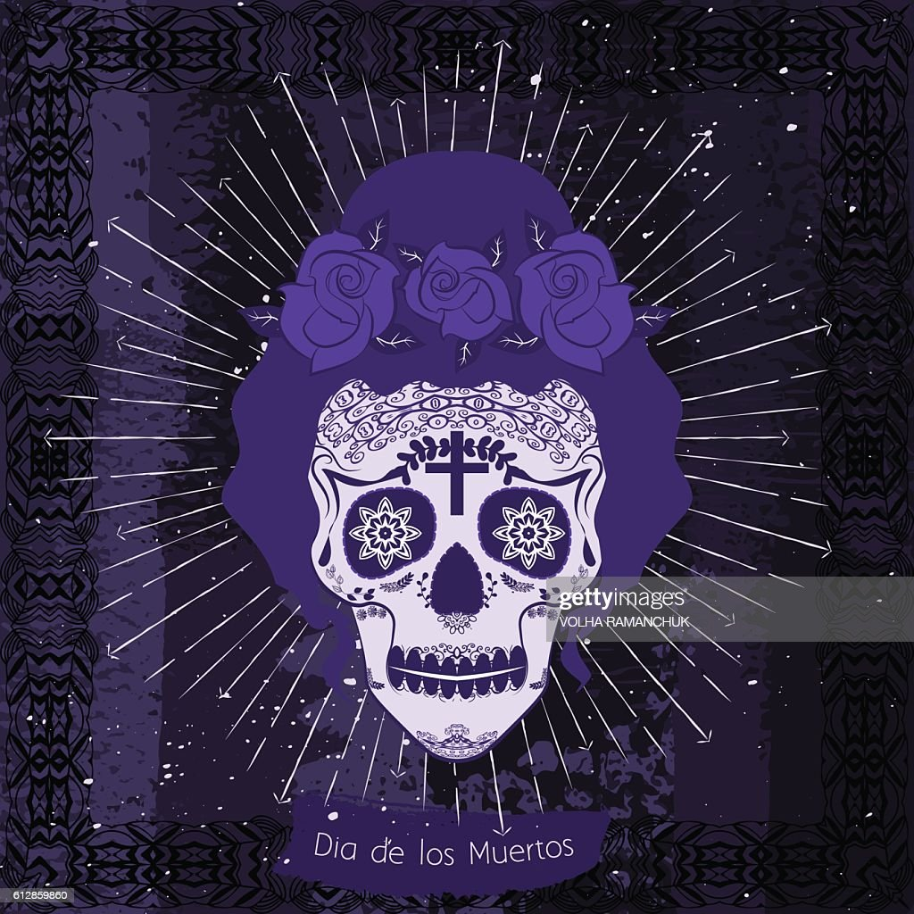 Mexico skull girl card.