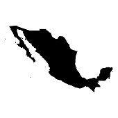Mexico - solid black silhouette map of country area. Simple flat vector illustration