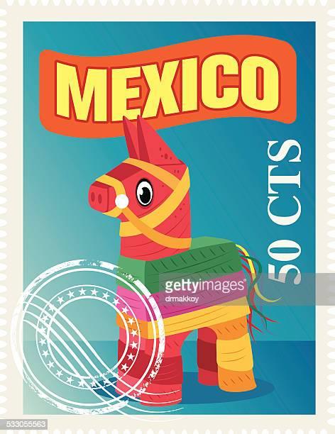 ilustrações, clipart, desenhos animados e ícones de selo do méxico - pinata