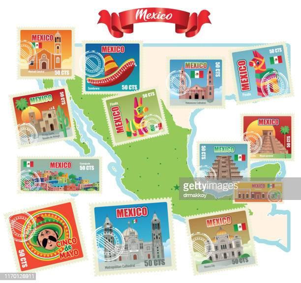 ilustrações, clipart, desenhos animados e ícones de selos e mapa de méxico - pinata
