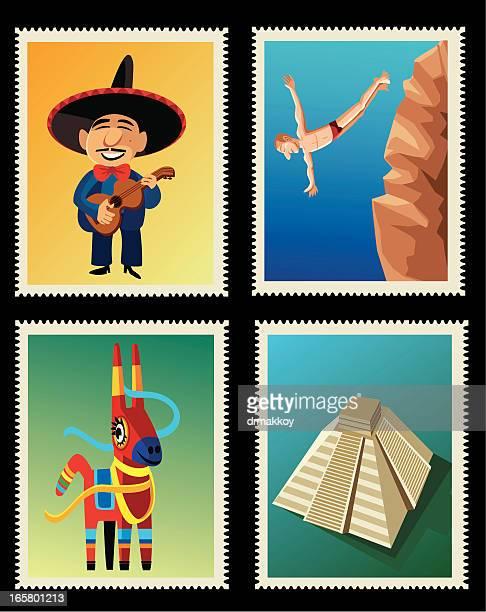ilustrações, clipart, desenhos animados e ícones de selos do méxico - pinata