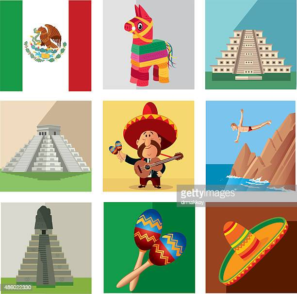mexico symbols - sombrero stock illustrations