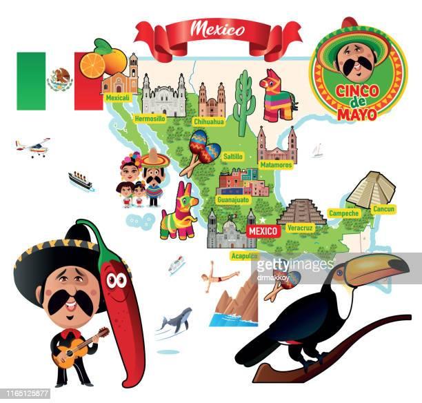 ilustrações, clipart, desenhos animados e ícones de méxico, mapa de viagens, mapa dos desenhos animados - pinata