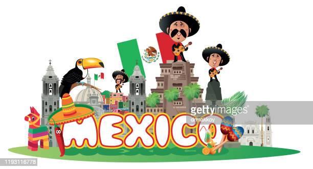 mexico travel - nuevo leon state stock illustrations