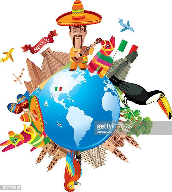 mexico travel - pinata stock illustrations