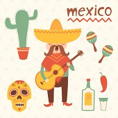 Mexico vector set. Illustration of Mexican playing the guitar