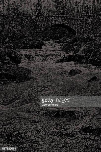 Mezzotint illustration of a beautiful Minnesota stream and bridge. Duluth, Minnesota