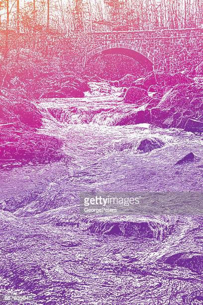 Mezzotint illustration of a beautiful Minnesota stream and bridge. Duluth, Minnesota