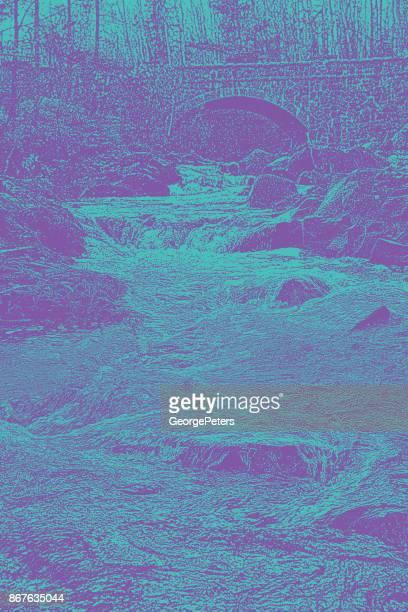 mezzotint illustration of a beautiful minnesota stream and bridge. duluth, minnesota - aspen tree stock illustrations, clip art, cartoons, & icons