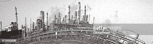 Mezzotint illustration of an oil refinery.