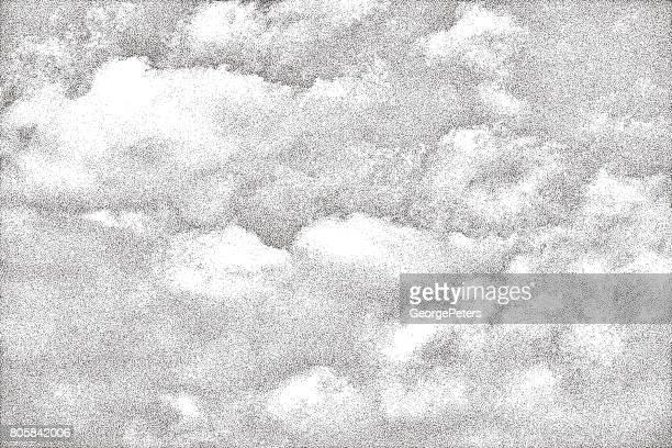 mezzotint of cloudscape - stipple effect stock illustrations