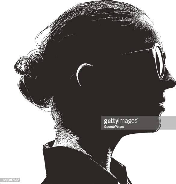 Mezzotint silhouette profile portrait of an intelligent, young woman