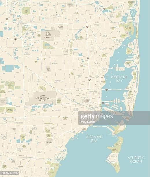 ilustrações de stock, clip art, desenhos animados e ícones de miami área do mapa - miami