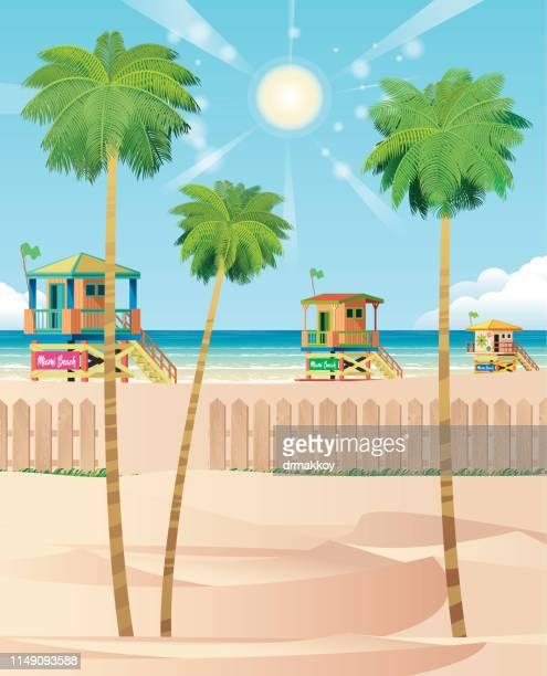 miami beach, florida, miami - miami beach stock illustrations