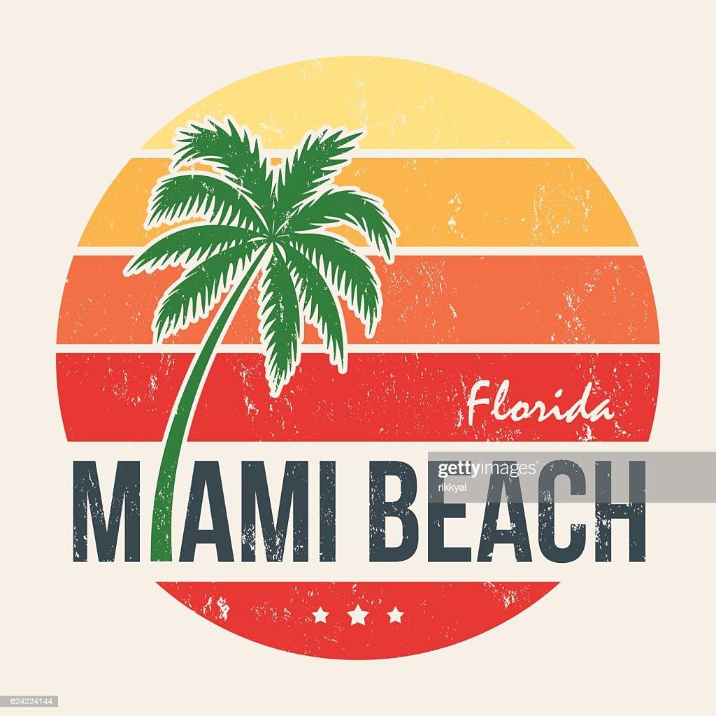 Miami beach Florida tee print with palm tree.