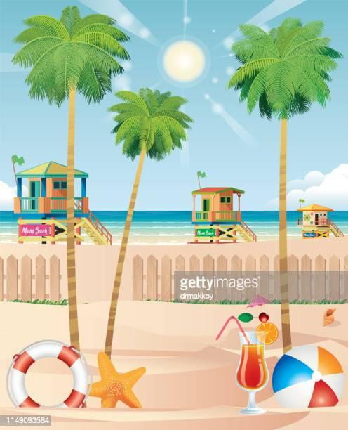 miami beach - panama city stock illustrations, clip art, cartoons, & icons