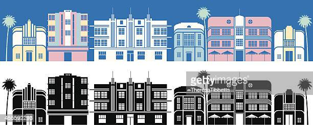 miami buildings - south beach stock illustrations