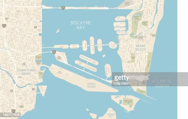 illustrazioni stock, clip art, cartoni animati e icone di tendenza di mappa di miami downtown - miami