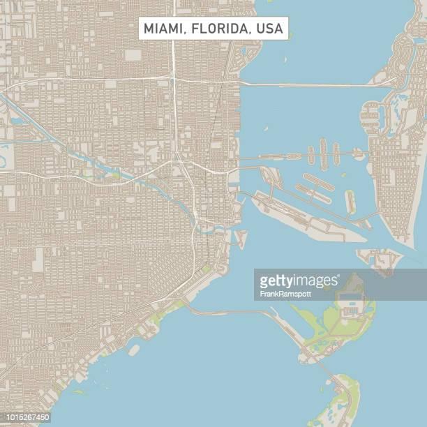 Miami Florida US City Street Map