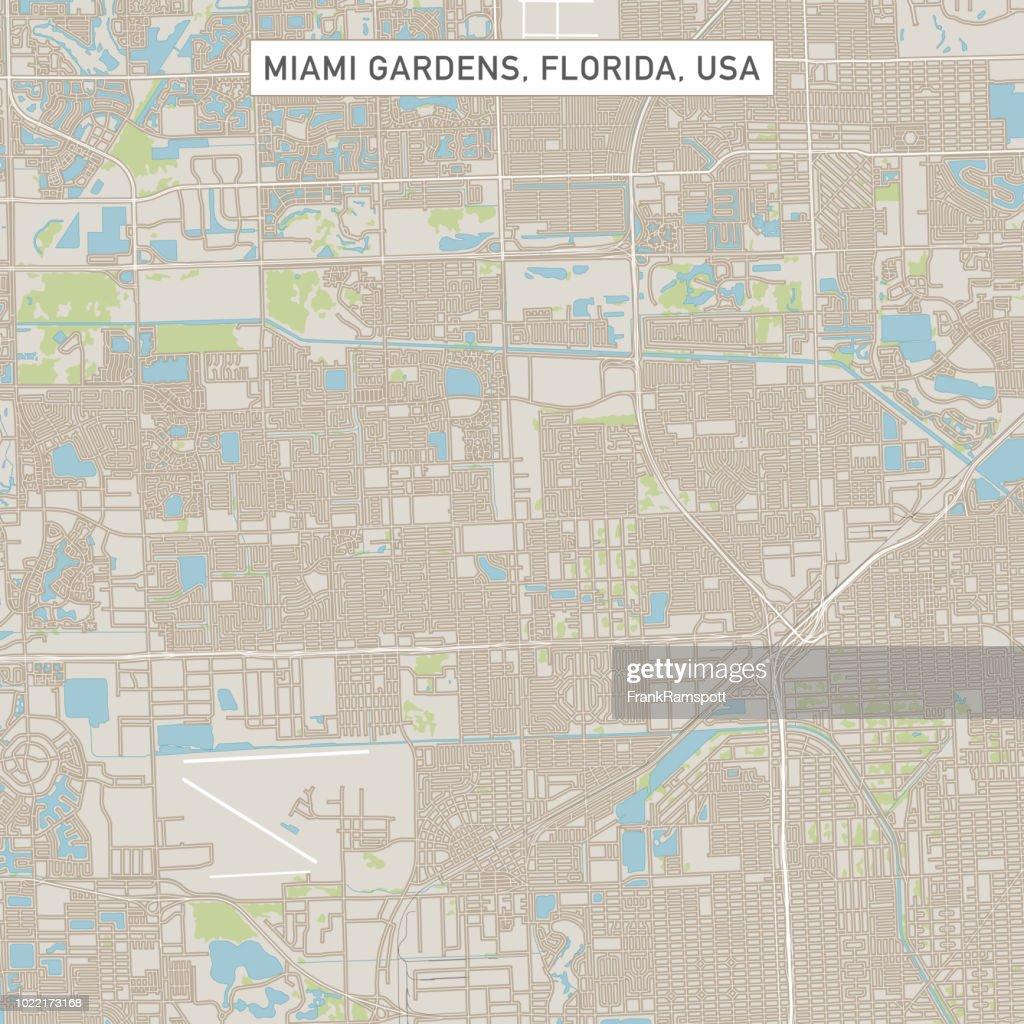 Miami Gardens Florida vs straat kaart : Stockillustraties