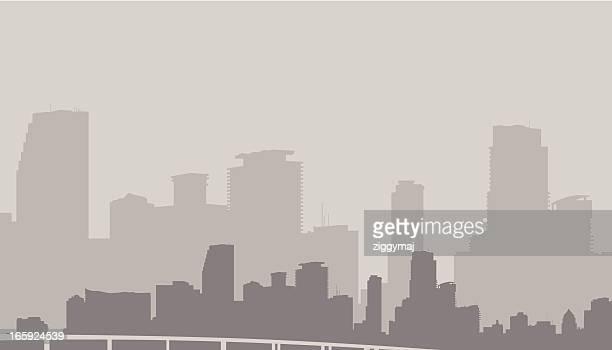 Miami Skyline in Gray