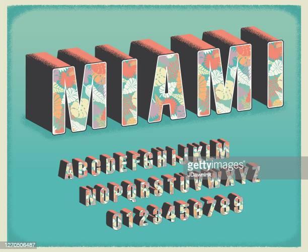 マイアミ熱帯花の旅行はがきフォントアルファベットセット - 書体点のイラスト素材/クリップアート素材/マンガ素材/アイコン素材