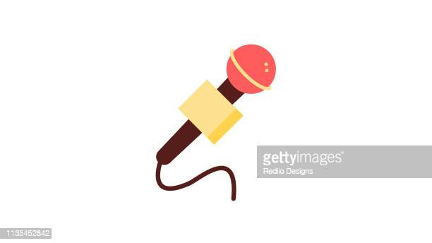 mic with wire icon - karaoke stock illustrations