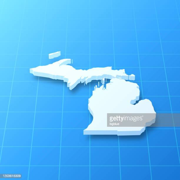 michigan 3d map on blue background - detroit michigan map stock illustrations