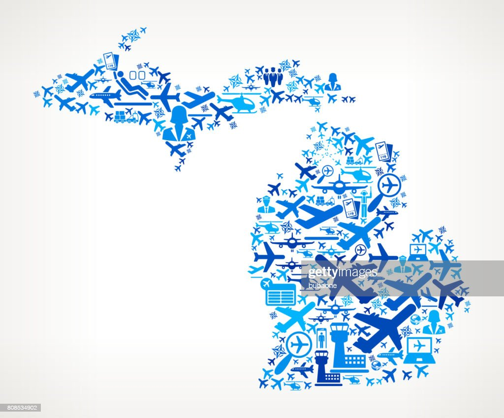 Michigan Aviation and Air Planes Vector Graphic : stock illustration
