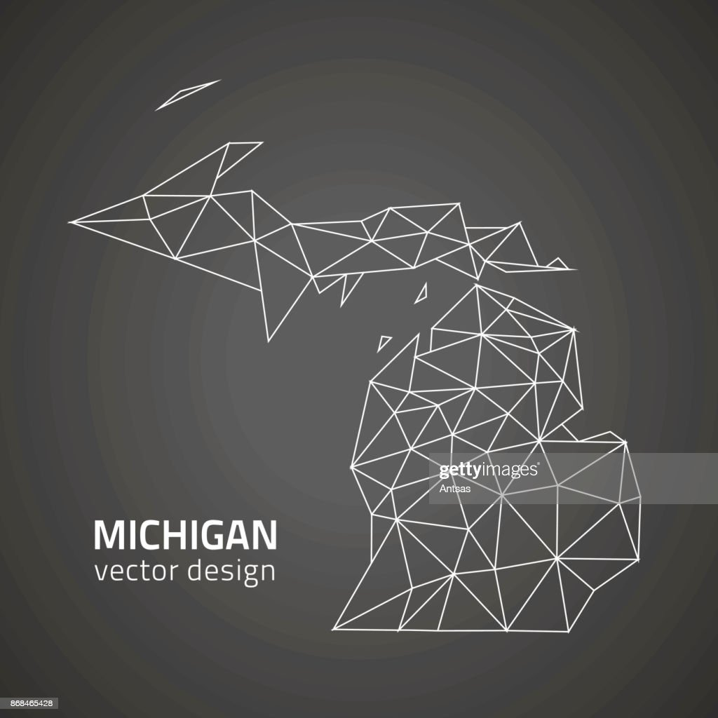 Michigan black contour triangle polygon vector map