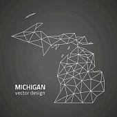 Michigan black contour triangle polygon vector map