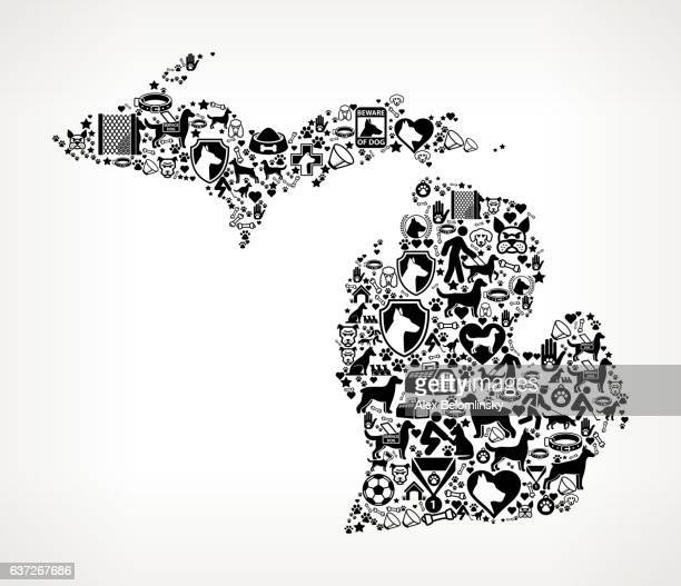 michigan dog and canine pet black icon pattern - golden retriever stock illustrations, clip art, cartoons, & icons