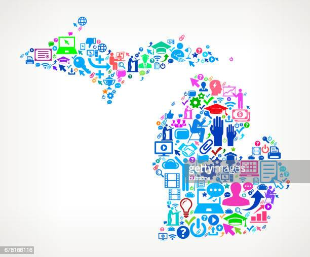 E-Learning College Michigan Bildung Symbole Hintergrundmuster