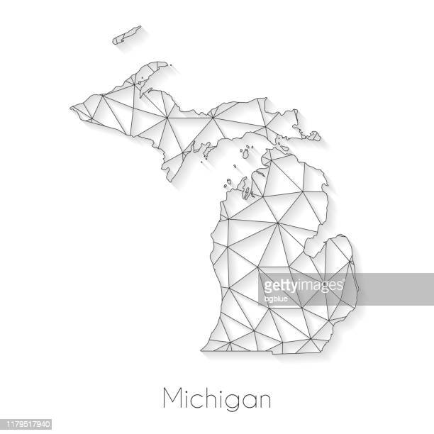 michigan map connection - network mesh on white background - detroit michigan map stock illustrations