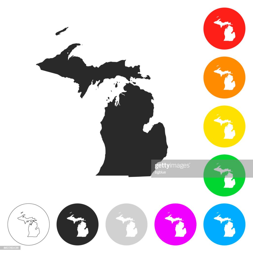 Michigan map - Flat icons on different color buttons