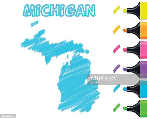 Michigan Karte handgezeichnet auf weißem Hintergrund, blau Textmarker