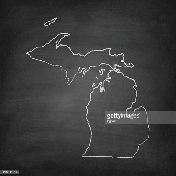 michigan map on blackboard - chalkboard - detroit michigan map stock illustrations