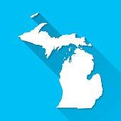 Michigan Map on Blue Background, Long Shadow, Flat Design