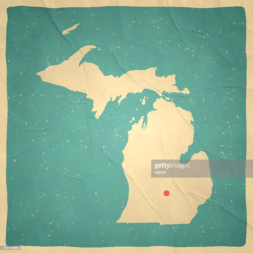 Michigan Map On Old Paper Vintage Texture Vector Art Getty Images