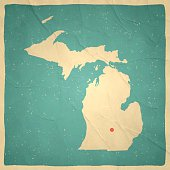 Michigan Map on old paper - vintage texture