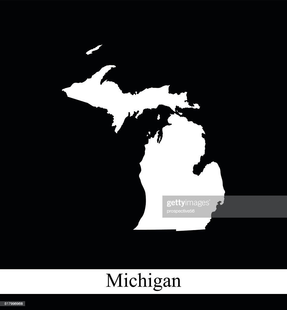 Michigan map outline vector printable in black and white background