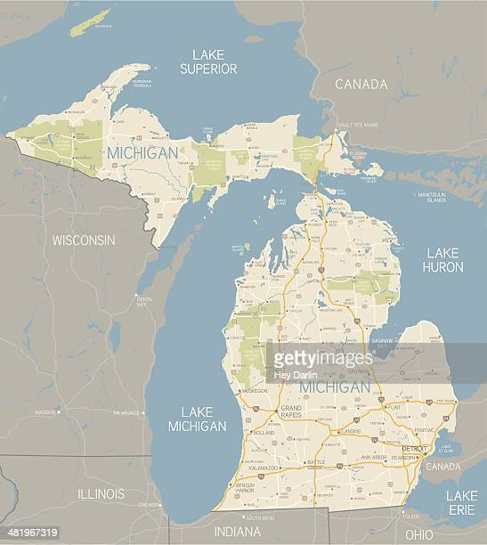 michigan map - michigan stock illustrations