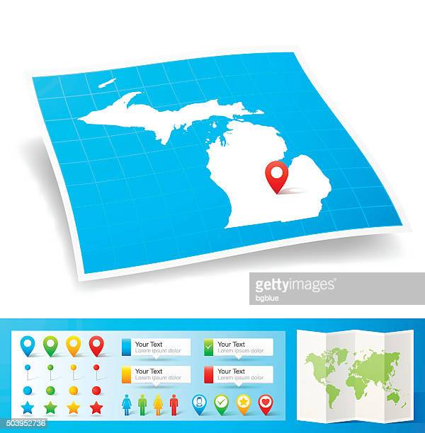 michigan map with location pins isolated on white background - detroit michigan map stock illustrations