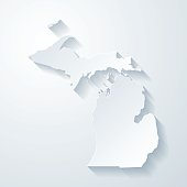 Michigan map with paper cut effect on blank background