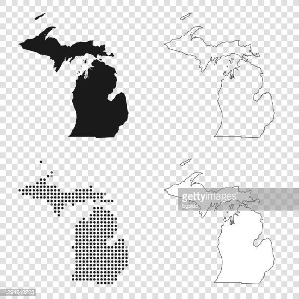 michigan maps for design - black, outline, mosaic and white - michigan stock illustrations