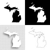 Michigan maps for design - Blank, white and black backgrounds